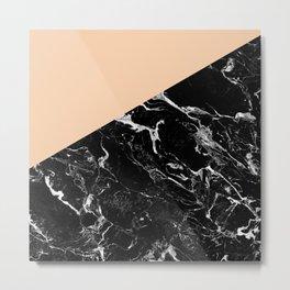 Modern elegant peach black marble color block Metal Print