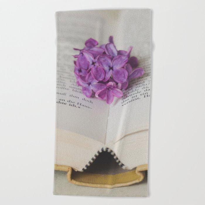 Lilac Bookmark II Beach Towel