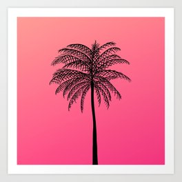 Tropical Pink Coral  Palm Tree California Sunset Art Print