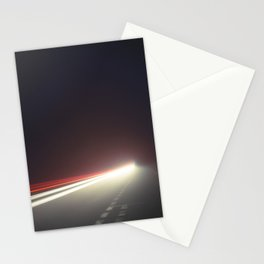 Car Light Trails in Fog at Night Stationery Cards