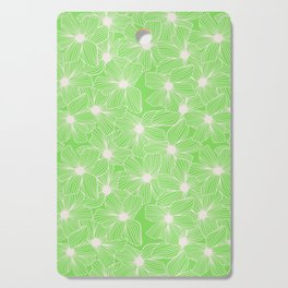 02 White Flowers on Green Cutting Board