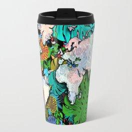 world map tropical leaves 3 Travel Mug