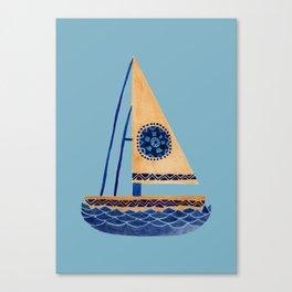 The Tribal Sailboat Canvas Print