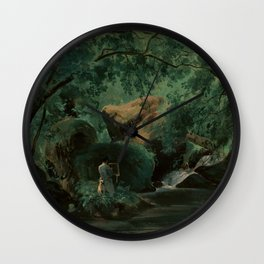 André Giroux Forest Interior with a Painter, Civita Castellana Wall Clock