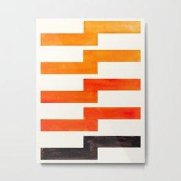 Orange & Black Geometric Minimal Mid Century Modern Lightning Bolt Pattern Watercolor Art Metal Print