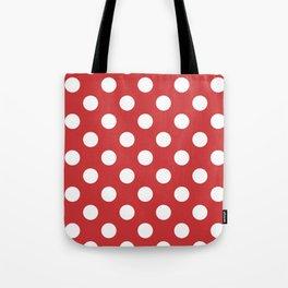 Madder Lake - red - White Polka Dots - Pois Pattern Tote Bag