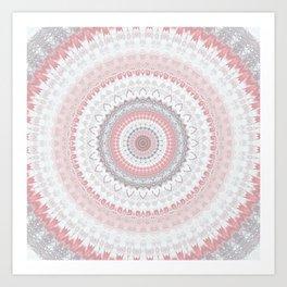Boho Pink Silver Pastel Mandala Art Print