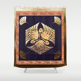 Japanese Swan Traditional Motif Shower Curtain