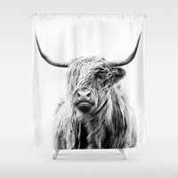 monkey Shower Curtains featuring portrait of a highland cow by Dorit Fuhg