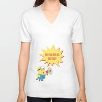 minion V-neck T-shirts featuring minion by Dripdrop