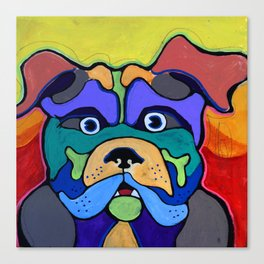 Bull Dog - Don't Give Me Your Lines and Keep Your Hands OFF!  Abstract POP ART Painting Canvas Print