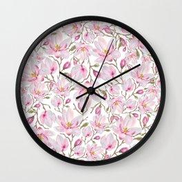 Magnolia Pattern Wall Clock