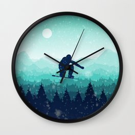 Snowboard Skyline II Wall Clock