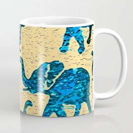Elephant March Blue Coffee Mug