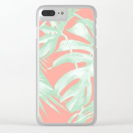 Island Love Coral Pink + Light Green Clear iPhone Case
