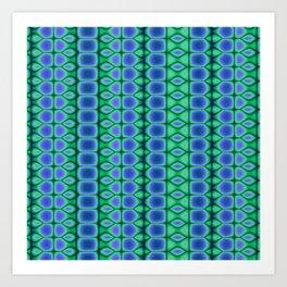 Blue and Green Pattern Stripes Art Print