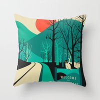 Throw Pillows featuring Twin Peaks by Jazzberry Blue