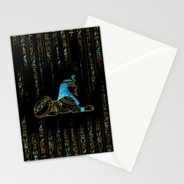 Egyptian  Sphinx on hieroglyphics Blue crystal and gold Stationery Cards