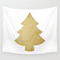 gold glitter Wall Tapestries featuring Gold Glitter Christmas Tree by A Little Leafy