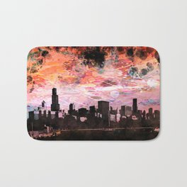 The Chicago Skyline Rendered in a Watercolor Abstract in Sunset Colors Bath Mat
