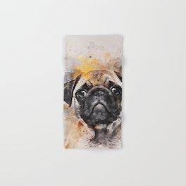Pug Puppy Using Watercolor On Raw Canvas Hand & Bath Towel