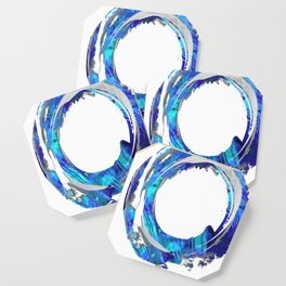 Blue And White Abstract Art - Swirling 1 - Sharon Cummings Coaster