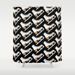 Ice Skating Pattern (Black White) Shower Curtain