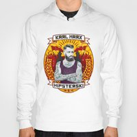 marx Hoodies featuring Karl Marx Hipster by Ferguccio