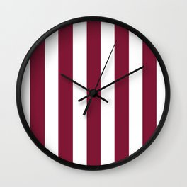 Claret purple - solid color - white vertical lines pattern Wall Clock