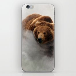 Fascinating Huge Grizzly Bear Running Through Smoke Cloud Ultra HD iPhone Skin