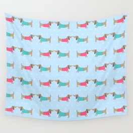 Cute dog lovers with dots in blue Wall Tapestry