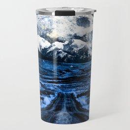 Road to Eternity (blue vintage moon mountain) Travel Mug