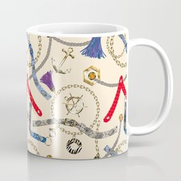 Trendy abstract with straps, tassels, chains Coffee Mug