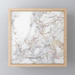 Champagne Rose Gold Blush Metallic Glitter Foil On Gray Marble Framed Mini Art Print
