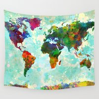 map Wall Tapestries featuring Abstract Watercolor World Map by Gary Grayson