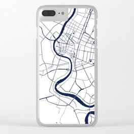Bangkok Thailand Minimal Street Map - Navy Blue and White Clear iPhone Case