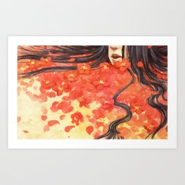 Beneath the Red Flowers Art Print