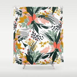 Botanical brush strokes I Shower Curtain