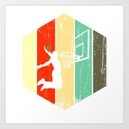 A Basketball Tee For Players With A Vintage Retro Silhouette Of A Man Showing His Skills T-shirt Art Print