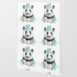 Watercolor Floral Spray Boho Panda Wallpaper