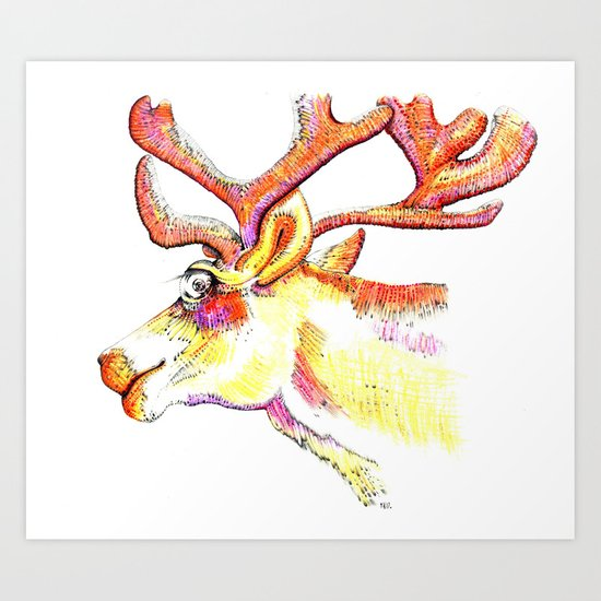 Holdiday drawings : Reindeer Art Print