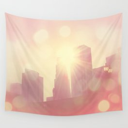 downtown Los Angeles skyline photograph. City of Lights Wall Tapestry