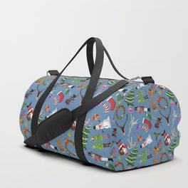 The Elements of Christmas (Pattern)(Blue) Duffle Bag