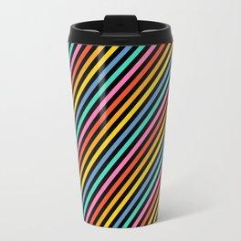 Diagonal Lines on Black Travel Mug