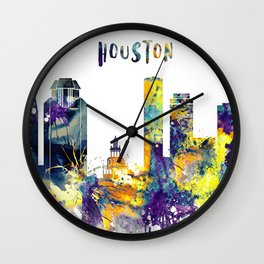 Colorful watercolor Houston skyline Wall Clock