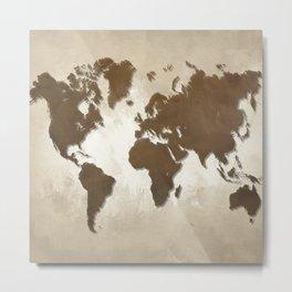 Design 64 World map brown sepia Metal Print