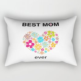 Best mom ever text with heart and colorful flowers Rectangular Pillow