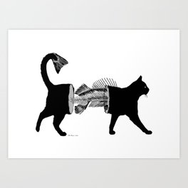 Cat-fish - Black cat with spine and fish tail Art Print