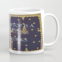 laptop Mugs featuring Laptop by Jrr Bookworks