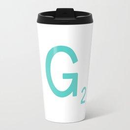 Aqua Letter G Custom Scrabble Travel Mug